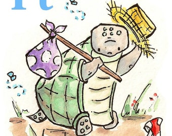 T is for Turtle. PRINT. 5X7. Nusery Art Wall Decor