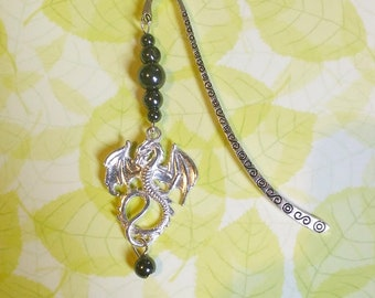 Dragon bookmark: genuine Hematite.