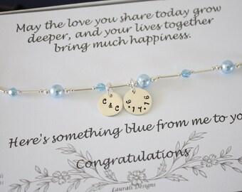 Something Blue Anklet, Bride Gift, Blue Swarovski Pearl Anklet, Charm Anklet, Initial Sterling Silver Adjustable Anklet, Couples Charm, Date