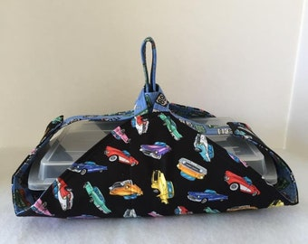 Thermal, Insulated, Casserole Carrier with Classic Cars and Street Signs