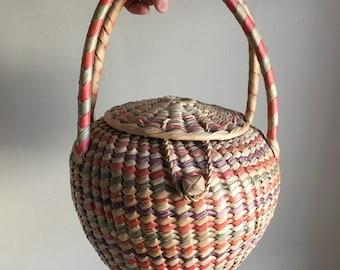 Vintage 60s Colorful Rare Seagrass Basket Purse Woven Bag