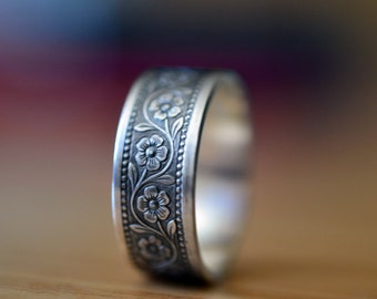 Wildflower Wedding Ring, Oxidized Silver Ring, Poesy Style Men's Wedding Band, Personalized Ring - Sizes 11.25 to 16