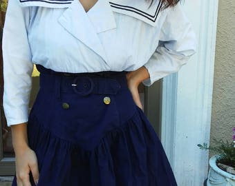 90s Sailor Nautical Navy Dress White and Blue Size 5-6