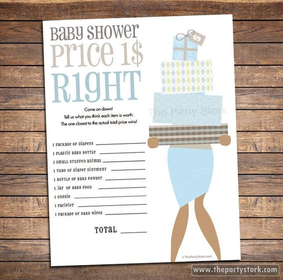 Price Is Right Baby Shower Game PRINTABLE For Boy Dark And