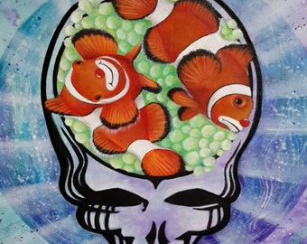 Grateful Dead Deadhead Steal Your Face Skull - Steal Your Clownfish Print