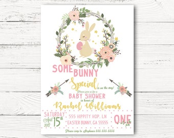 Valentines baby shower invitation cupid baby shower easter baby shower invitation bunny themed baby shower spring party invites springtime baby announcement c046 filmwisefo