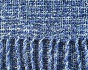 Blue Hand Woven Pure Shetland Wool Shawl