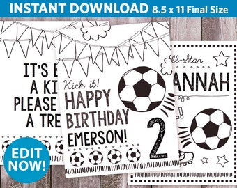 """3 Personalized Soccer Birthday Coloring Pages / Coloring Sheet / Soccer Party Printable / All Star Sports Coloring / Any Age / 8.5x11"""""""
