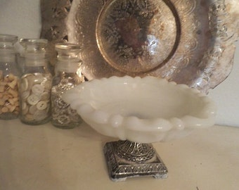 vintage Shabby Chic Milk Glass and silveplate Pedestal Ring catch all dish