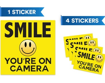 Smile You're On Camera Security Sticker - Home Video Surveillance Signs - Prevention of Vandalism Robbery Theft (5Pk)
