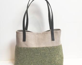 Green Tweed and French Linen Handmade Handbag Lisa Steed davey