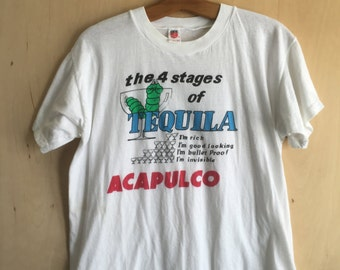 "80's Acapulco ""4 Stages of Tequila"" T-Shirt L"