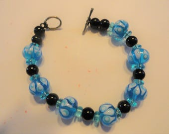 Blue Glass Beads with White decoration and Black glass Beads