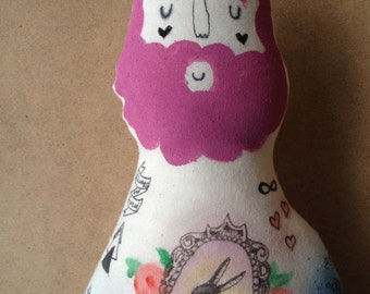 Custom: front and back Large Hipster Boyfriend Doll. Hand painted OOAK art doll with Galaxy and Rabbit Tattoos and Purple Beard- made to ord