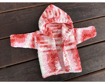 Multicolor Hooded Crochet Baby Cardigan