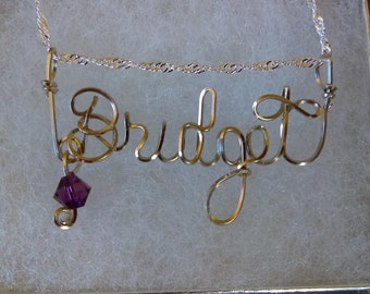 BRIDGET or ANY Wire Name in your choice of metals teen gift tween gift personalized gift unique gift wire name jewelry