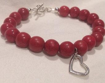 Red Stone Heart Bracelet