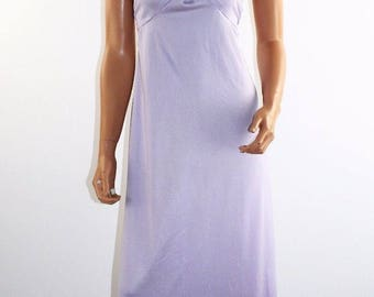 Vintage 70's Lavender Halter Formal Gown Greek Goddess Maxi Prom Dress Size XS