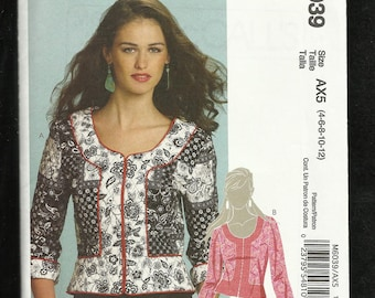 McCalls 6039 Short  Jacket with Peplum Scoop Neckline and Front Band Detail Sizes 4 to 12  UNCUT