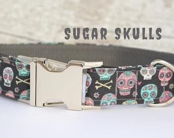 Sugar Skull Dog Collar - Modern Dog Collar - Buckle Dog Collar - Gift for a Dog Lover - Gift for a New Dog - Dog Fashion