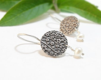 Sterling Silver Earrings Small Round Earrings Dangle Earrings Cherry Blossom Floral Earrings Silver Handmade Earrings Bridal Party Gift
