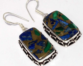 Copper Lapis + malachite Handmade 925 Silver Plated Earrings B 510