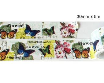 Washi tape (washi) - colorful butterflies