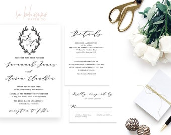 Printable Wedding Invitation Suite / Calligraphy / Wedding Invite Set - Savannah Monogram Suite