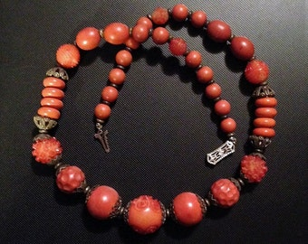 Red Orange Carved Beads Necklace Asian Style Vintage Ornate Clasp Plastic Material