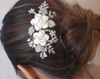 Elfenbein Strass besetzte emaillierten Blumen Swarovski-Kristallen Perlen Blätter Gold oder Silber Ton Braut Haarkamm Hochzeit Kopfschmuck - Stella