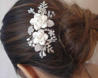 Ivory Rhinestone Encrusted Enameled Flowers Swarovski Crystals Pearls Leaves Gold or Silver Tone Bridal Hair Comb Wedding Headpiece - Stella