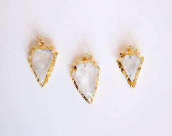 1 Piece - Quartz Arrowhead Pendant - Gold Plated Gemstone Pendant - Stone Jewelry - Clear Quartz Pendant Gold Dipped Bulk Supplies / G-SP003
