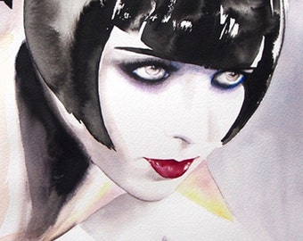 Louise Brooks Blacklisted Art Print Fashion Illustration Flapper 1920s Early Hollywood Original Watercolor Art Deco Edgy salon decor