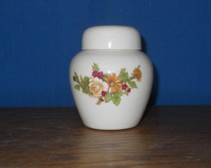 Featured listing image: Ceramic jar with lid,urn,Rose and Dasiy Jar with lid,Keepsake urn, Tiny jar, art pottery, handmade