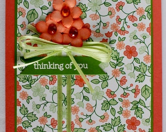 Coral Posies Thinking of You Card