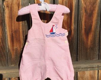 Pink Striped Overalls Sail Boat Short Long Jons Sz 6-12M Baby Girl