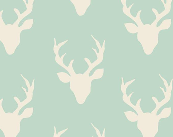 Hello Bear fabric, Deer Quilt fabric, I Spy Fabric, Mint Nursery Decor, Mint Green Ivory - Buck Forest Mint, You Choose the Cut