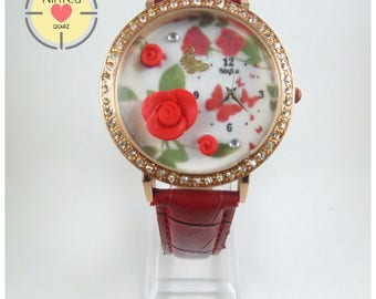 Wrist watch for women model roses (Wristwatche 3d Clay roses)