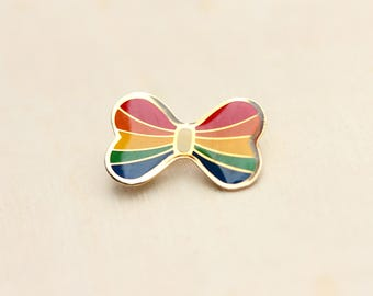 Rainbow Bow Pin, Bow Pin, Rainbow Pin, Enamel Pin