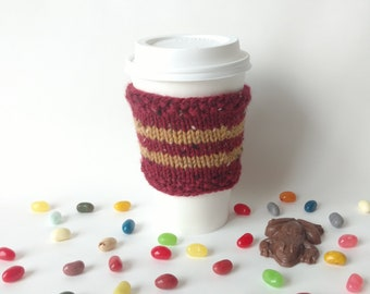 Harry Potter Knit Coffee Cup Cozy Gryffindor House Sleeve To-Go Cup / Teacher Neighbor Friend Family Gift Present Stocking Stuffer