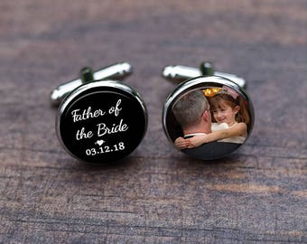 Cuff links, Father of the bride Cufflinks, Custom Heart and date, mens jewelry, Wedding Gifts, tie clips, men's accessory