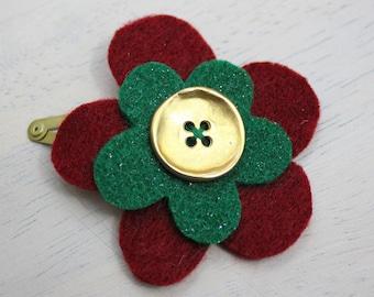 Festive red, green & gold felt flower hair clip