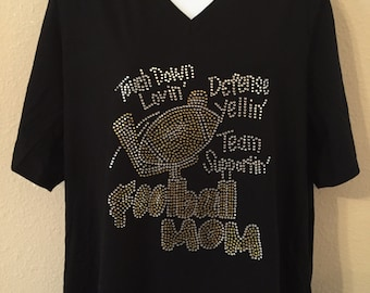Touchdown Lovin' Football Mom Rhinestone T-Shirt