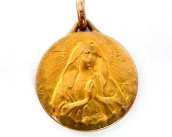 Vintage 1919 E Dropsy French Virgin Mary Medal, Vintage french FIX
