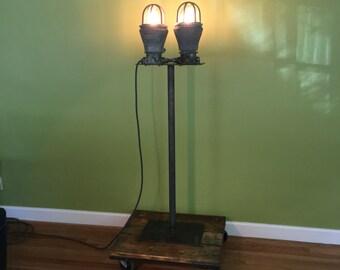 "Vintage industrial explosion proof floor lamp light on hardwood cart 64"" high, heavy"