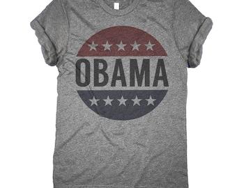 Retro Obama Shirt - Vintage Vote President Barack Obama Button T-Shirt
