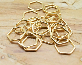 Set of 10 hexagon connectors, honeycomb, gold metal, 17 * 15 mm