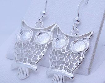 Fine Victorian Fancy Birds in birdcages sterling silver 925 earrings