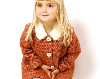Brown tweed wool coat for girl -  jacket for babies - brown winter coat - retro baby coat