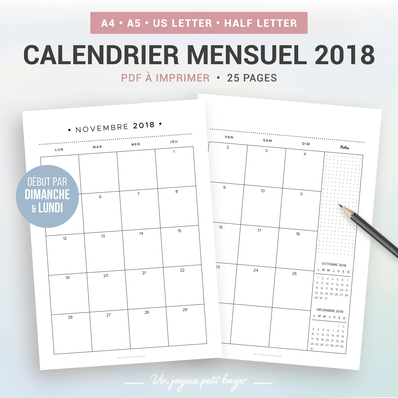 Souvent CALENDRIER MENSUEL 2018 à imprimer agenda mensuel 2018 NA87